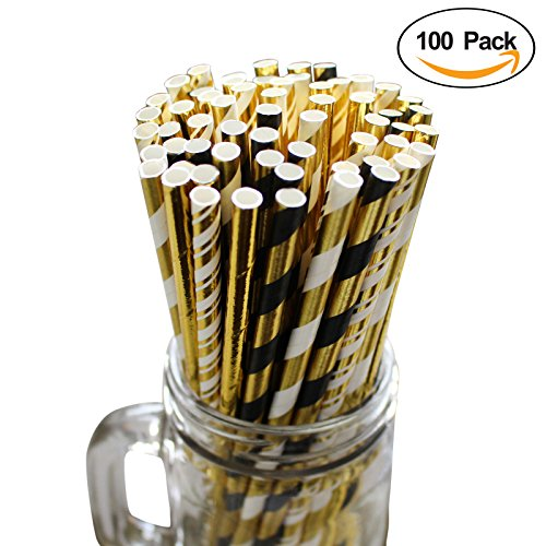 100-pailles-en-papier-boissons-decoration-motifs-par-belle-vous-motifs-noirs-blancs-et-dores-pour-le