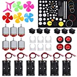 6 Set DC Motor Kit Rectangular Electric 1.5-3V 24000RPM Mini Motor with 86 Pcs Plastic Gears 6 x AA Battery Holder Motor Mounting Bracket Boat Rocker Switch Shaft Propeller for DIY Science Projects