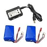Fytoo Accessoire 2PCS 7.4V 1100mAh Batteries au Lithium + 1PCS 2 en 1 Chargeur de Batterie pour WLtoys A949 A959 A969 A979 S989 V912 T23 T55 F45 RC Voiture Drone Télécommandé