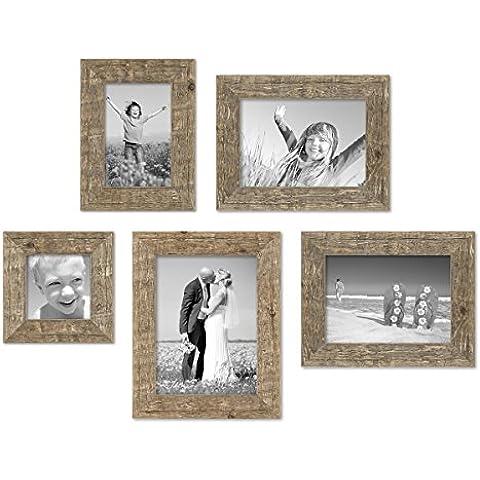 Juego de 5 marcos 10x10, 10x15, 13x18 y 15x20 cm casa de playa, aspecto roble rústico natural, madera maciza con cristal y accesorios / marco de