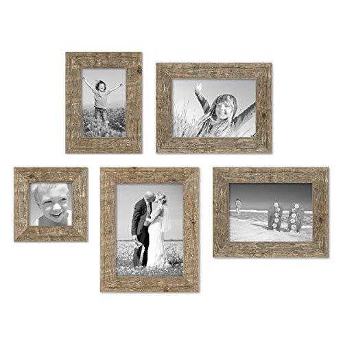 5er Bilderrahmen-Set 10x10, 10x15, 13x18 und 15x20 cm Strandhaus Rustikal Eiche-Optik Natur Massivholz mit Glasscheibe inkl. Zubehör / Fotorahmen (Holz Rustikale Rahmen)