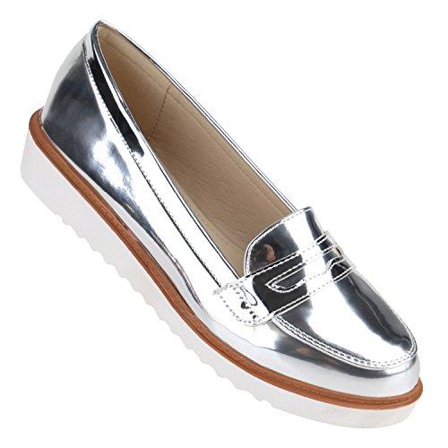 stiefelparadies damen slipper lack plateau loafers loafer. Black Bedroom Furniture Sets. Home Design Ideas