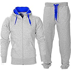 Idea Regalo - Juicy Trendz Uomo Athletic Lunghi Selves Pile Zip Intera Palestra Tuta da Jogging Set Usura Attivo