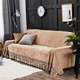 HYXL Plush Sofa cover,Anti-slip Sofa slipcover Waterproof Couch towel Furniture protector for armchair Plush furniture slipcovers For dog-Khaki 200x380cm(79x150inch)