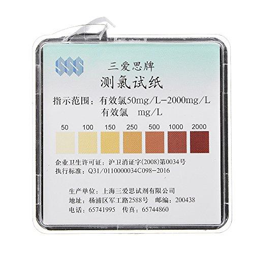 MYAMIA Chlor-Test Papierrollen Bereich 50-2000 Ppm W/Color Chart Sanitizer Kraft Prüfung 4M -