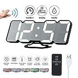 Decdeal Despertador LED RGB, Mando a Distancia 3D, Reloj de Mesa Digital USB, indicador de Temperatura, Fecha,...