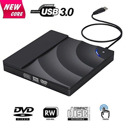 Externes CD Laufwerk, BOSLISA USB 3.0 DVD/CD Brenner mit Berührungssteuerung, 100% Neu Chip Superdrive für Laptops, Unterstützt Windows 10/8/7/XP/Mac OS