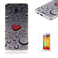 For Samsung Galaxy A3 Case [with Free Screen Protector],Funyye Colorful Painting Pattern Rubber Exclusive Design TPU Back Case Flexible Soft Bumper Protective Skin Case Ultra Samsung Galaxy A3-Love water