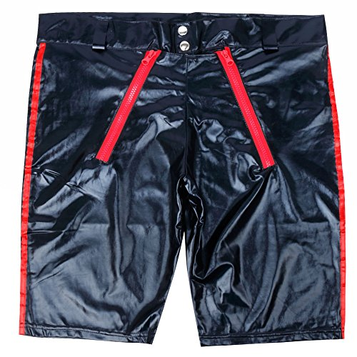 iixpin Herren Boxershorts Unterhose Slip Pants Hipster Lack Leder Wetlook Männer Unterwäsche schwarz Ledershort Gr. S-3XL Schwarz & Rot X-Large - 5