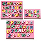 DRFUNDA Alfabeto de Silicona Letra Numero Torta de la galleta pasta de azucar Decoracion el molde