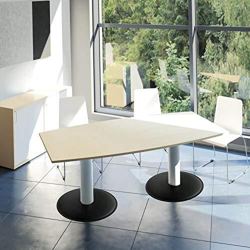 WeberBÜRO Optima Konferenztisch Bootsform 200x100 cm Besprechungstisch Ahorn Tisch Esstisch Küchentisch