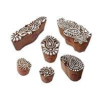 قطع خشبية من Mehndi طوابع طباعة رائعة بتصميم زهور بيزلي (مجموعة من 6)