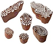 Attractive Wooden Blocks Exquisite Paisley Floral Design Printing Stamps (Set of 6)