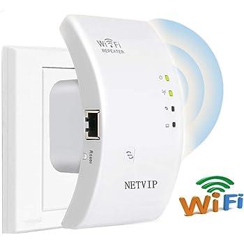 NETVIP WiFi repetidor Extensor de Red WiFi -300Mbps Mini Wireless Extensor de Rango Inalámbrico Ap Amplificador Enrutador Repetidor Booster Wireless-N 2.4GHz Universal EU Enchufe (Puerto LAN, WPS)