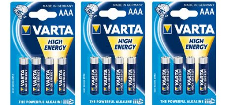 3er Pack - VARTA-Batterie HIGH ENERGY Micro (3x 4-er Blister R3) -