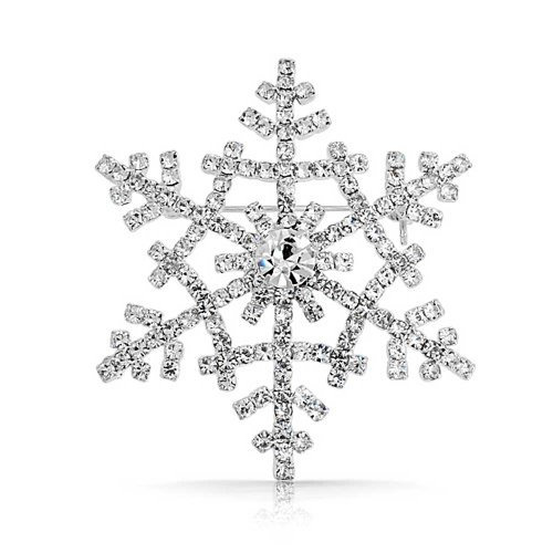 l Winter Weihnachten Schneeflocke Brosche Pin Versilbert (Schneeflocke-pin)