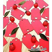 50pcs Tag cuore rosso vuoto per matrimoni, 3x4,6 cm, carte regalo Tag, Tag fai da te, etichetta bagagli, etichetta prezzo, cartellini kraft con cuore, laurea, compleanno