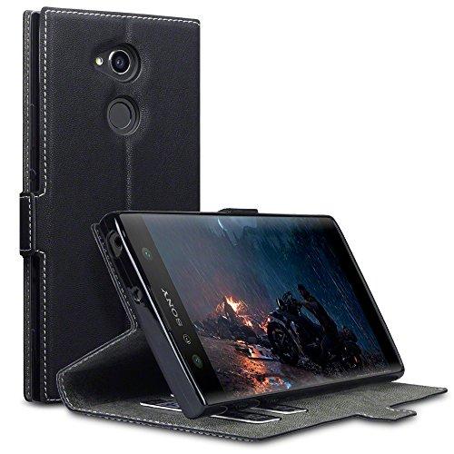 Terrapin, Kompatibel mit Sony Xperia XA2 Ultra Hülle, Leder Tasche Case Hülle im Bookstyle mit Standfunktion Kartenfächer - Schwarz EINWEG