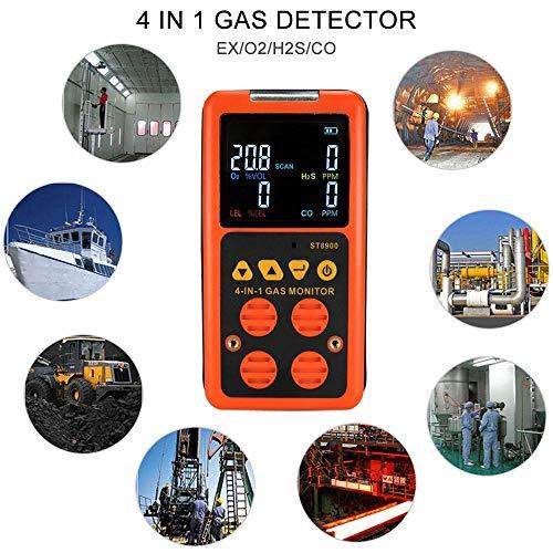 WENZESHIYE✵ 4 in 1 Digital LCD Gasdetektor Erdgas-Lecksucher CO H2S O₂-UEG-Sensor Tester Lecksucher ABS-Kunststoff Tragbarer Tester für brennbare Gase für brennbare Gase Explosive Gas-alarm
