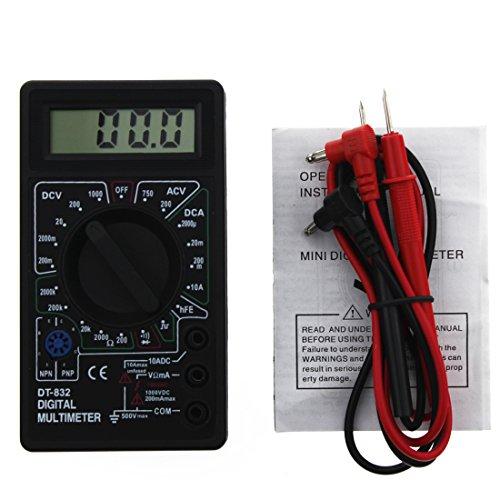 DT-832 Mini-Multimeter, digital, tragbar, AC-/DC-Spannung, Schwarz
