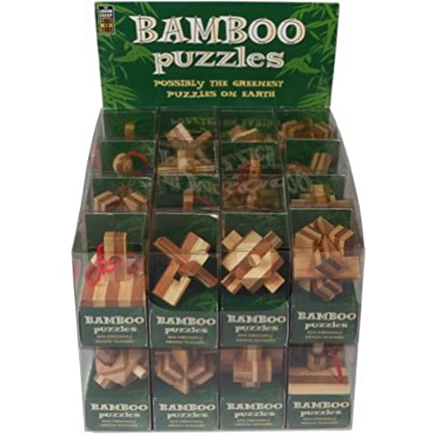 6 pcs surtidos de bambú de Puzzle Mini, 1Set