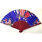 AUM- Colorful, Floral Pattern, Hand Held Folding Bamboo Japanese Silk Hand Fan (Blue-MS).100% Hand Crafted, Gift Fan For Girls, Women, Wedding Party. Buy 100% Original Imported Hand Fan From Aum Impex Only
