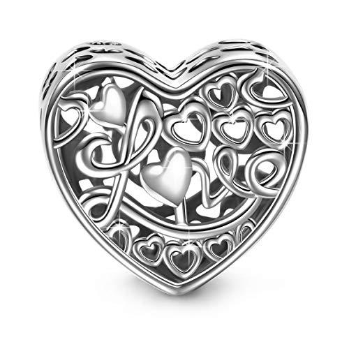 NINAQUEEN Bead Charm ~ Amore ~ Argento Sterling 925 Messaggiamo con Confezione Regalo per Bracciale Charms