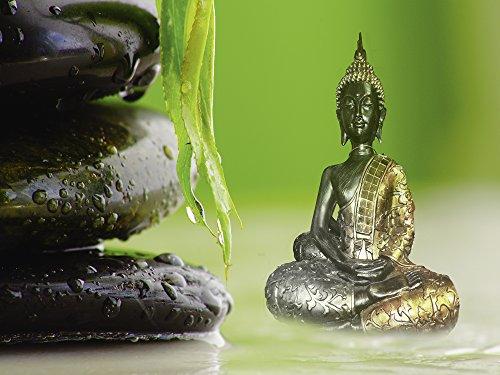 Artland Qualitätsbilder I Wandtattoo Wandsticker Wandaufkleber 40 x 30 cm Fantasy Mythologie Religion Buddhismus Mixed Media Grün C0VN Buddha und Steine