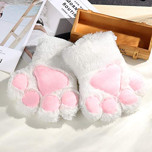 okdeals 1Pair Women Girls Cute Cat Kitten Paw Claw Warm Gloves Soft Anime Cosplay Plush for Halloween Party Accessories