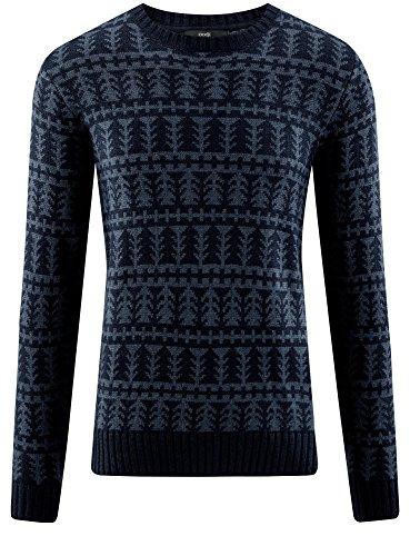 oodji Ultra Herren Weihnachtspullover Gemustert Blau (7974G)