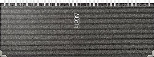 Rido/idé (703613390) Tischkalender/Querterminbuch septant (2 Seiten = 1 Woche, 305 x 105 mm, Kunststoff-Einband Visicron, Kalendarium 2017, Wire-O-Bindung, mit Metallecken) metallic schwarz