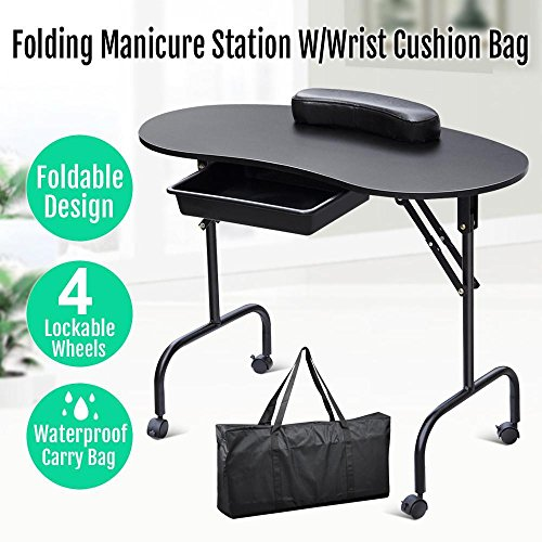 Yaheetech Manicure Table Nail Technician Workstation Art Desk with Drawer + Carry Bag + Wrist Rest(Black) Test