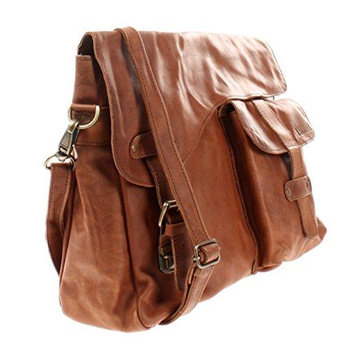 LECONI Messenger Bag DIN A4 Leder Damen Herren Ledertasche Schultasche Retro look Collegetasche natur 38x28x12cm LE3032 braun