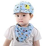 Sommer Basecap Snapback Cap 2PCS Baby Cap Gedruckt Baseball Cap Baby Kleinkind Jungen und Mädchen Cartoon Hut + Infant Pinafore Bib Set Outfit (Blau)