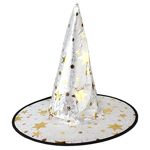Hexe Hut Weiße Kostüm - GKOKOD Hexenhut für Halloween, Monoschicht Erwachsene Damen Hexe Hut Kostüm Zubehörteil Witch Hat 1 Stück (Weiß)