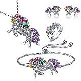 Ensemble de bijoux Licorne, collier avec pendentif Licorne, bracelet de licorne, boucles d'oreilles Licorne et bague de Licorne, ensemble de 4 pièces, l'un des meilleurs cadeaux pour filles et femmes