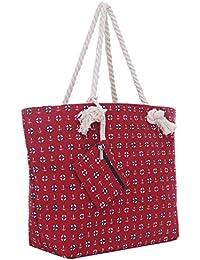 Bolsa de playa grande con cremallera 58 x 38 x 18 cm diseño marítimo-playa shopper bolsa de hombro