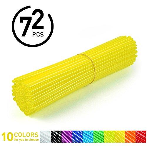 72Pcs Spoke Skins - Cubiertas de Radio de Rueda para Motocross, Bicicletas de Suciedad - 10 Colores ( Color : Amarillo )