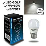 7W GOLF LED Light Bulbs B22 BC Bayonet Cap Paul Russells Bright 7W=60W G45 270 Beam Lamp 4000K Cool White 60W Incandescent Replacement
