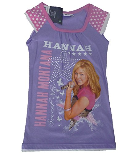Hannah Montana Mädchen T-Shirt violett rosa 128 -
