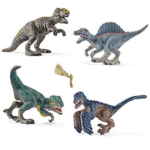 Schleich Mini-Dinosaurier Spiel-Set Neuheiten 2017 - T-Rex 14596 Spinosaurus 14599 Utahraptor 14597 Velociraptor 14598 mit Knochen
