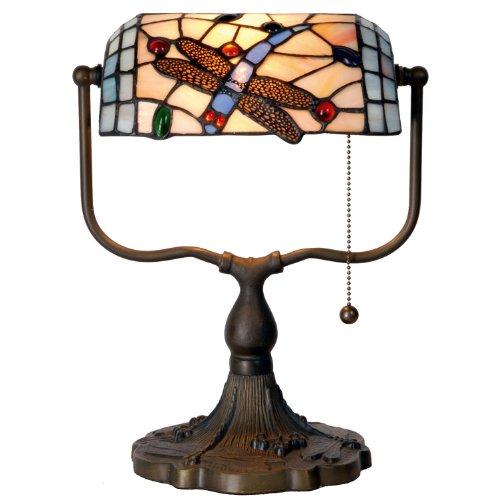 Lumilamp 5LL-1144 Bankerlampe/Burolampe Tiffany Stil Glas Libelle Mehrfarbig 27 * 20 * 36 cm 1x E27 max 60w handgefertigt glasschirm