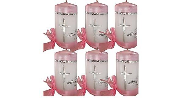 Taufe Kommunion Konfirmation Gastgeschenke 6 St/ück Gastkerzen passend zu Taufkerze Kommunionkerze MIT HERZ Namen Datum rosa pink ITP161