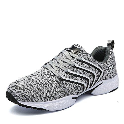 Outdoor Sport Running Schuhe Leicht Schnürer Wander Sneakers Herren Freizeit Straßen Laufschuhe Mesh Atmungsaktiv Fitness Turnschuhe, Grau 46 (Mesh-schuhe Grau)