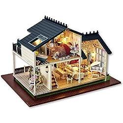 CLCJW Iluminación creativa,Villa de sueño de Navidad DIY casa de muñecas madera incluye todo muebles lámpara LED luces