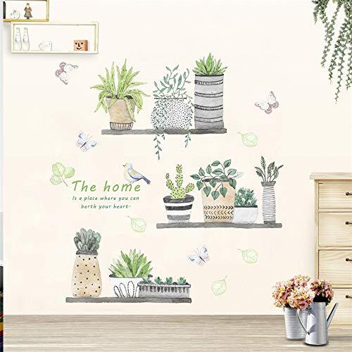 Sencillo Vida Cactus Pegatinas de pared vinilo adhesivo decorativo para las niñas habitación de niño Wall Stickers salón dormitorio TV fondo Inicio 30x90cm