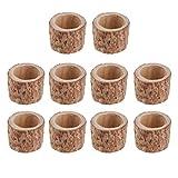 FLAMEER 10 Stück Holz Mini Blumentopf Teelicht Kerzenhalter für Haus Garten Büro Dekoration
