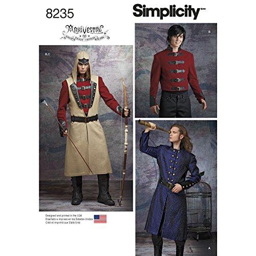 Simplicity Schnittmuster 8235Herren Cosplay Kostüm Muster, weiß