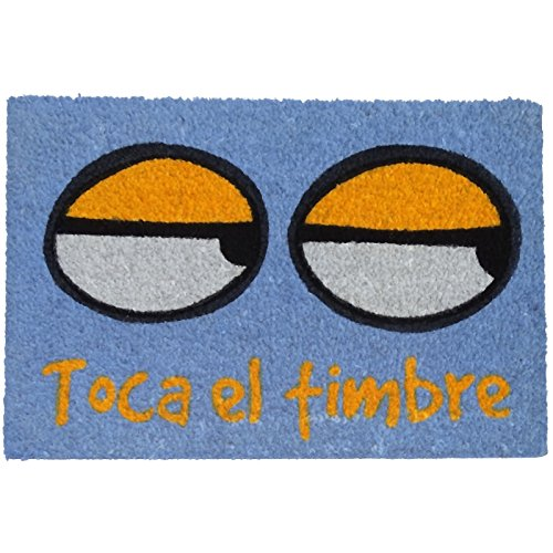 Felpudos Originales con Diseño Toca El Timbre, PVC, Coco, 60 x 40 cm