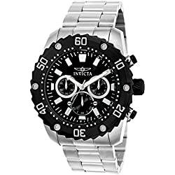 INVICTA Pro Diver Men's Quartz Watch with Black Dial Chronograph Display and Silver Stainless Steel Bracelet - 22516